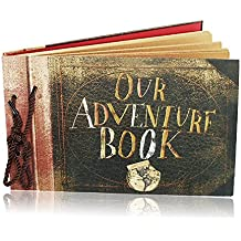 Our Adventure Book Travel Scrapbook Photo Album Pixar Up Handmade DIY Retro Book for Craft Paper, Valentines Day Gifts, Wedding Guest Book, Anniversary Memory Book by FunSponsor (Retro)