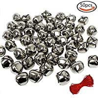 Outuxed 1 Inch Christmas Silver Jingle Bells Craft ( 50 Pack ) for Festival Decoration DIY Craft & 20-Meter Red Cord