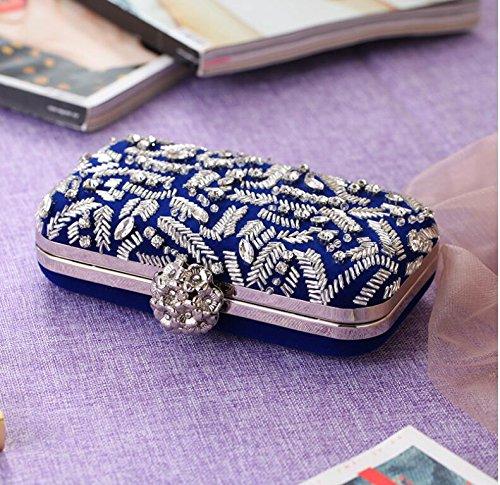 frizione della casuali frizione delle borsa personalità di per sacchetto del di la corduroy Blue Borsa nuziale promenade di bordate frizione cerimonia di donne di di x7qXzqE