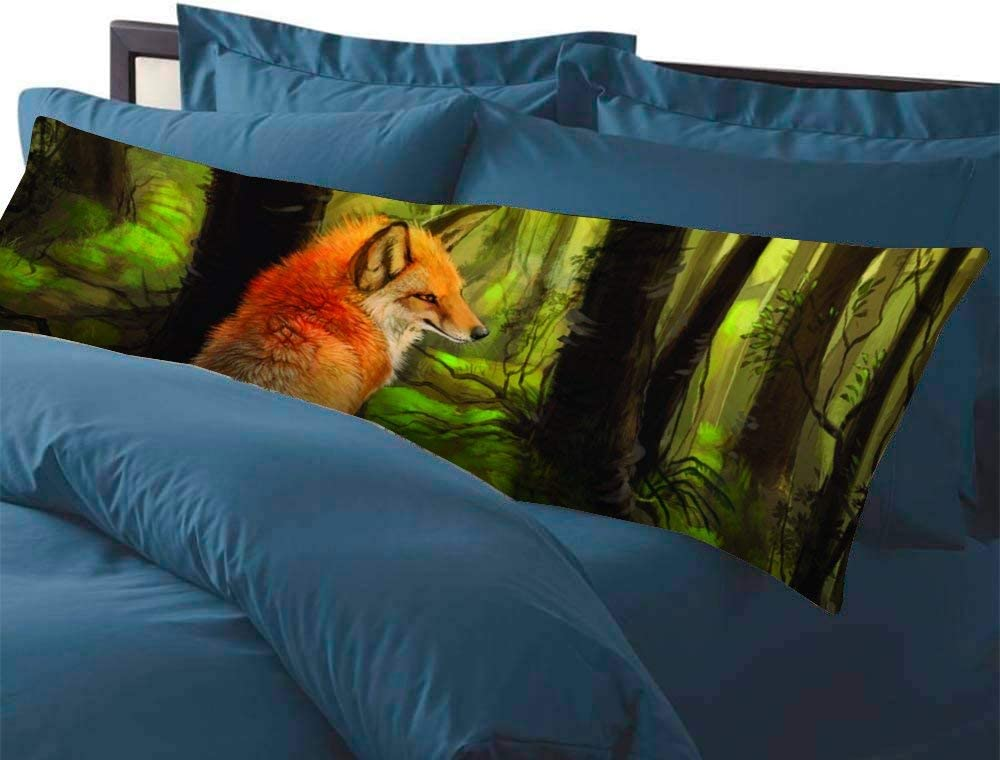 mit Rei/ßverschl/üssen weiche Baumwolle maschinenwaschbar Fhdang Decor Kissenbezug Fuchs im Wald 36 Baumwolle Single 3ft