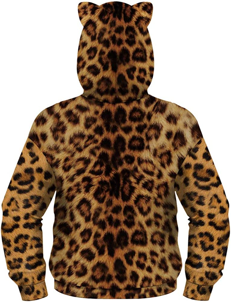 Morbuy 3D Stampa Animalier Unisex Moda Manica Lunga Pullover per Ragazze e Ragazzi 6-14 Anni Bambini Felpa con Cappuccio Hoodie con Orecchie di Gatto