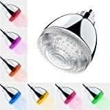 Cabeza de ducha LED de la casa lechosa, 7 colores de luz de flash que cambia automáticamente el cabezal de ducha fijo…