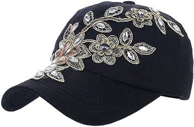 Star Bling Embellished Blue Flower Baseball Cap