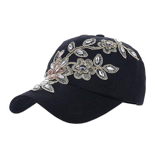 d8455c3822f Deer Mum Ladies Denim Jean Campagne Bling Ajustable Baseball Cap Cowboy Hat(Flower  1)