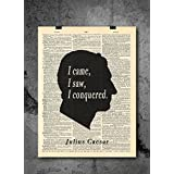 Julius Caesar - I Came I Saw I Conquered - Vintage Dictionary Print 8x10 inch Home Vintage Art Abstract Prints Wall Art for Home Decor Wall Decorations For Living Room Bedroom Office Ready-to-Frame