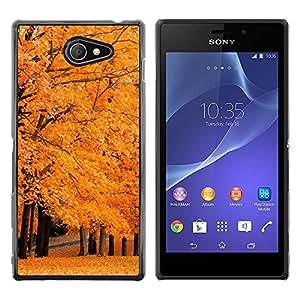 Exotic-Star ( Autumn Tree ) Fundas Cover Cubre Hard Case Cover para Sony Xperia M2 / Xperia M2 Aqua / Sony Xperia M2 Dual
