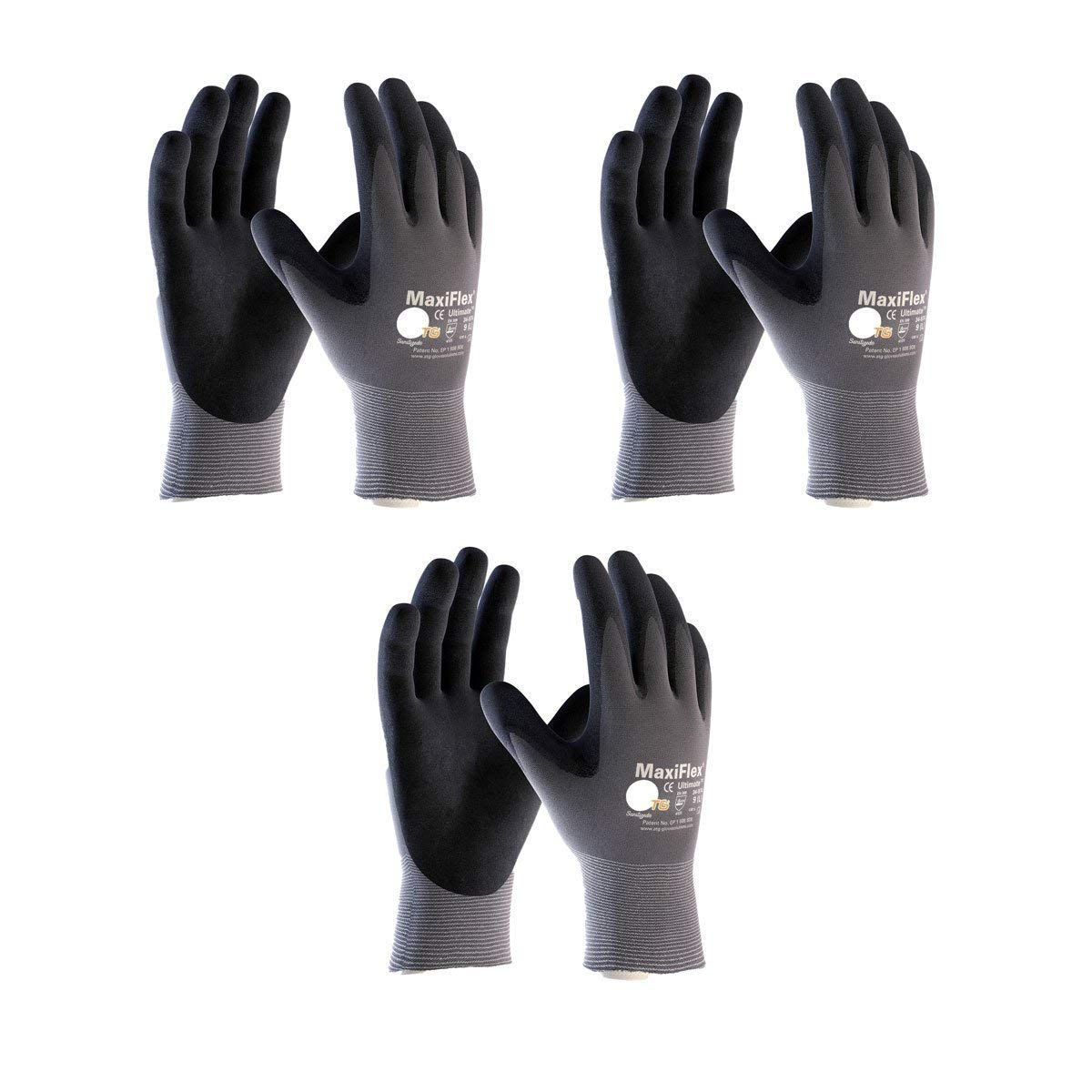Maxiflex 34-874 Ultimate Nitrile Grip Work Gloves, Small, 3 Piece