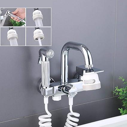 rubinetto cucina a muro, rubinetto per cucina a muro Cromo, ottone rubinetto lavello cucina a muro, Girevole Spruzzatore a 360 ° rubinetto a muro