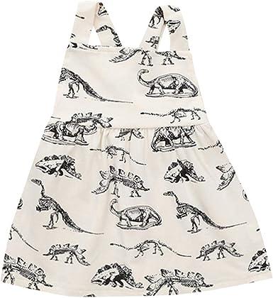 Toddler Kid Baby Diaosaur Printed Shirt Sleeve Tutu Dress Party Holiday Sundress