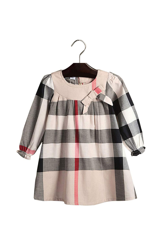 ZANDZ Little Girls Cotton Bow Tie Princess Dress Plaid Casual Summer Dress (6T-7T, Beige-B)