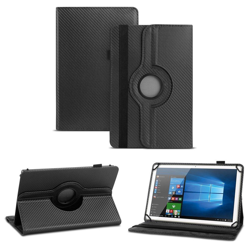 Carcasa rígida de fibra de carbono) Tablet para Trekstor SurfTab Twin 10.1de piel sintética con función atril y 360° Funda Cover Case Stand Funda Soporte rotatoria de 360º NAUC