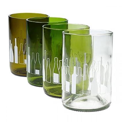 bottleg Lass – Cristal con Skyline de botellas – Set de 4 unidades, hechas a