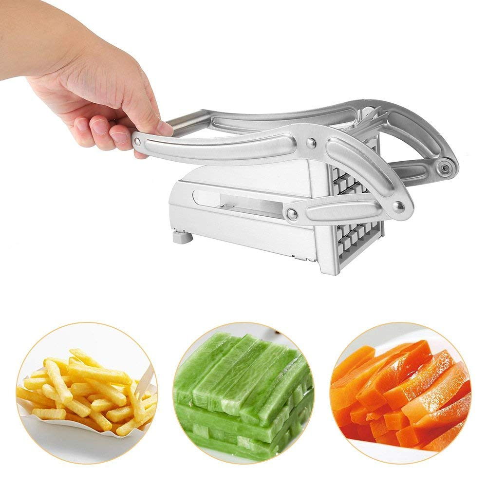 Stainless Steel French Fry Cutter Yam Slicer Chopper Dicer 2 Blades Effective Yam Chips Making Machine Kitchen Tools