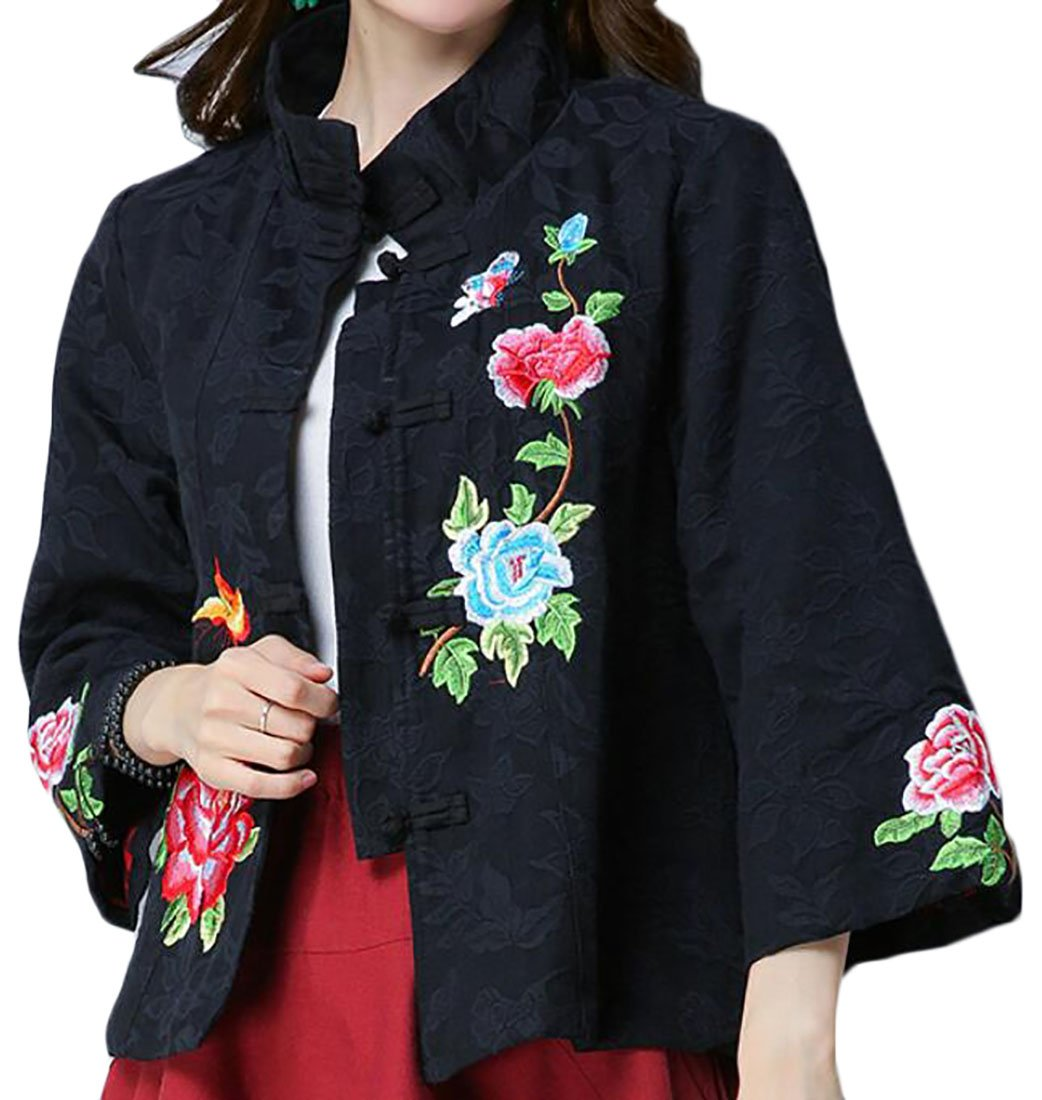 GAGA Women's New Long Sleeve Chinese Style Embroidery Printing Chinese Kung Fu Casual Linen Coat Black S