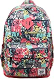 Cheap AfterGen Classic Backpack School Laptop Backpack Lightweight Cute Girls Backpack, Graffiti Smiley