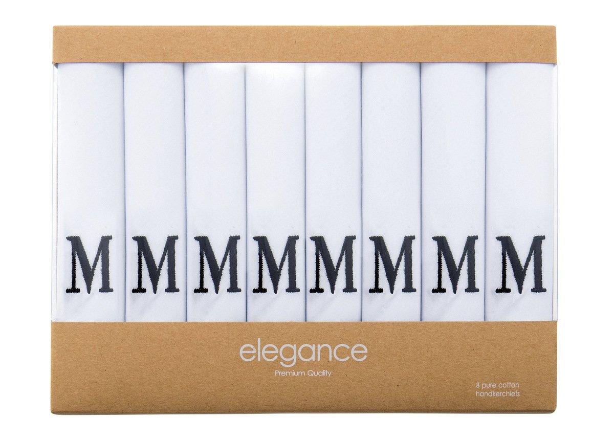 Retreez 8 Piece Pure Cotton Initial Monogrammed Men's Handkerchiefs Hanky Gift Box Set, Christmas gift - Set M Initial