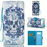 Galaxy Note 8 Wallet Case,HAOTP 3D Beauty Luxury Fashion PU Flip Stand Credit Card ID Holders Wallet Leather Case Cover for Samsung Galaxy Note 8 2017 - Blue Skull Flowers