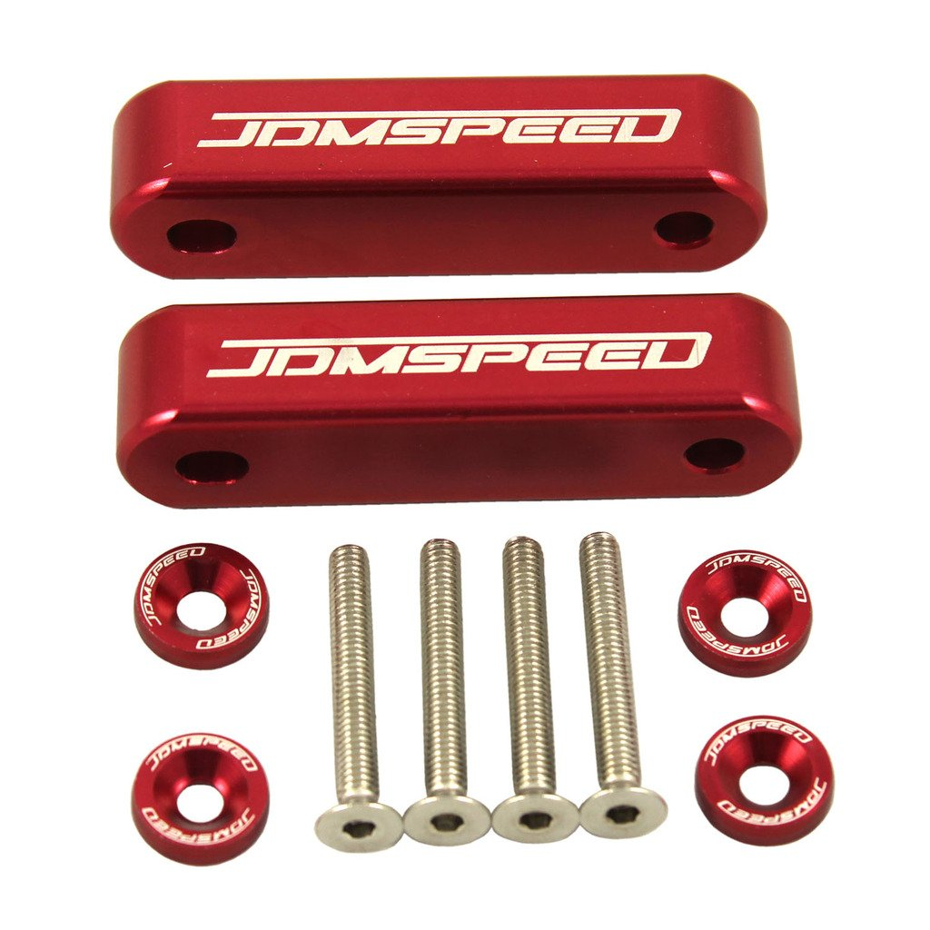 JDMSPEED Anodized Red JDMSPEED Hood Spacer Hood Riser 3/4' for Honda Civic CRX Del Sol Acura Integra