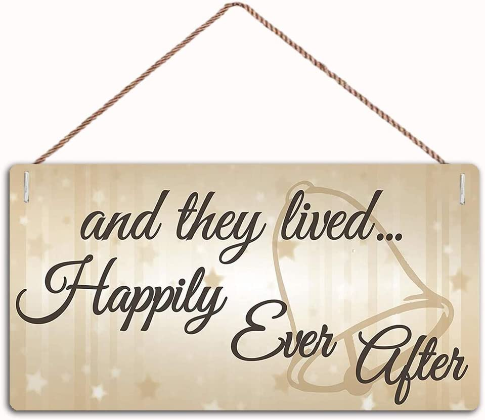 MAIYUAN They Lived Happily Ever After Hanging Wedding Day Plaque Sign Family Decor Sign Wall Door Sign 10