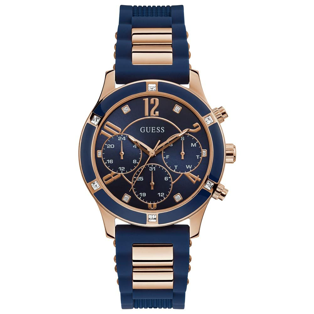 blue and golden watch