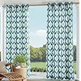 1 Piece Indigo Ikat Gazebo Curtain Panel 95 Inch, Green Ogee Pattern Outdoor Curtain Light Blocking For Patio Porch, Geometric Indoor/outdoor Drape Pergola Garden Sunroom Grommet, Polyester