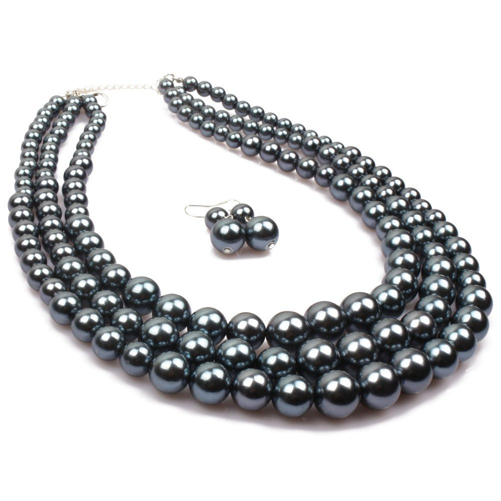 Winter.Z Multi-storey Pearl Clavicle chain Explosion models exaggeration fashion retro false collar necklace 64102