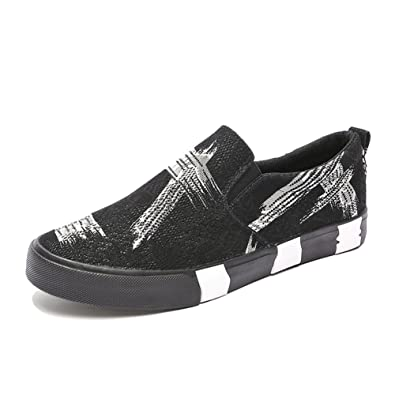 Espadrilles Mens Canvas Shoes Casual Shoes Student Trainers Shoes Flat Loafers Deck Shoes (Color : Black Size : 44)