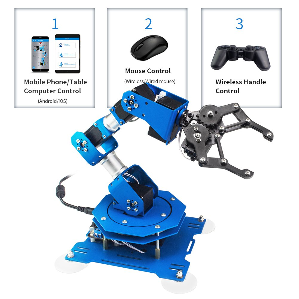 LewanSoul xArm 6DOF Full Metal Programmable Robotic Arm with Feedback of Servo Parameter, Wireless/Wired Mouse Control, Mobile Phone Programming for Arduino Scratch by Hiwonder (Image #3)