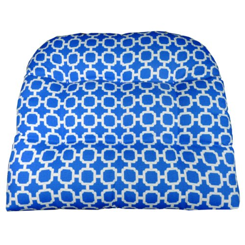 Patio Chair Cushion - Hockley Blue Geometric - Size Large - Indoor / Outdoor: Mildew Resistant, Fade Resistant - Wicker Chair, Adirondack Chair (Royal Plantation Outdoor Furniture)