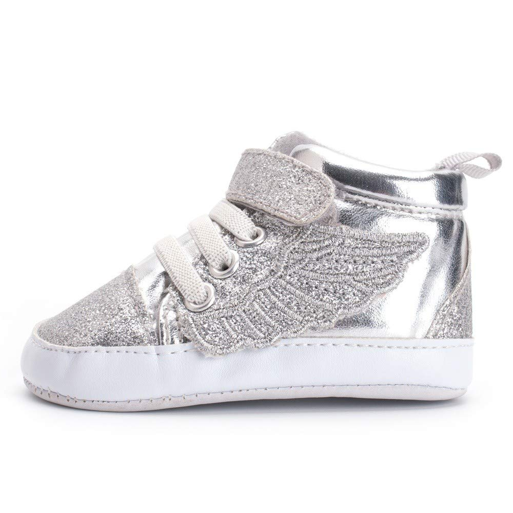 Kids,/Newborn Toddler/Baby Boys Girls Bling Wing First Walkers Boots Soft Sole Shoes,Silver