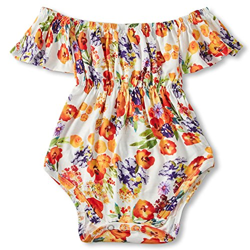 BFUSTYLE Baby Girls Off-Shoulder Bodysuit Rompers Infant Floral Onesies 0-36 M