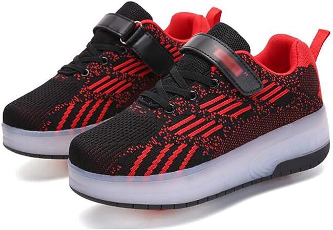 WANGT Zapatos de Roller,Patines Deportes Zapatos,Led Luces Cargable Ajustables Rueda única Running Zapatillas Deportes de Exterior Gimnasia Niños Niña,Rojo,32: Amazon.es: Hogar