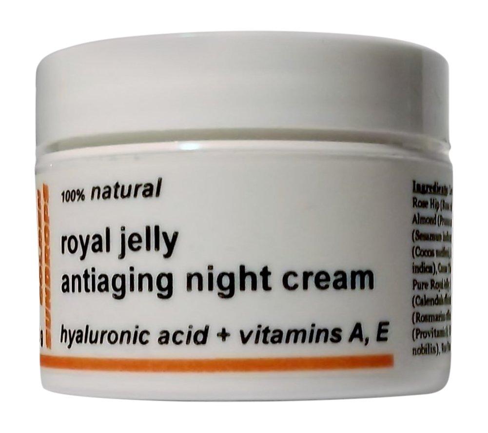 Golden Sundrops Royal Jelly Antiaging Night Cream (1.5oz / 42g) Hyaluronic Acid Vitamin A and E Rose Hip Oil Kokum Butter Skin Healing Dry Skin Face Neck Moisturize Decrease Fine Lines Reduce Wrinkles by Golden Sundrops