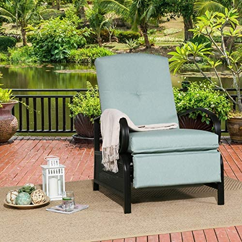 Ulax Furniture Outdoor Recliner Chair Adjustable Patio Reclining Lounge Chair