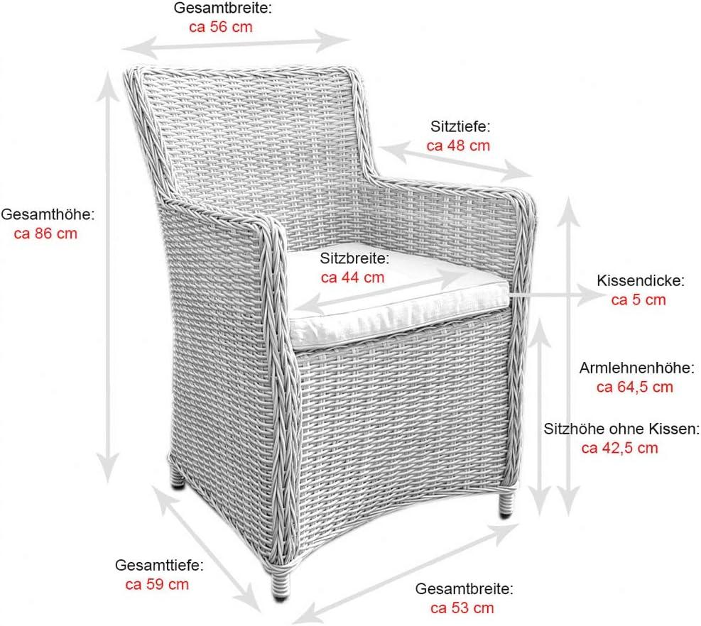dasmöbelwerk Polyrattan Garten Lounge Sessel Gartenmöbel mit Polstern Akazie