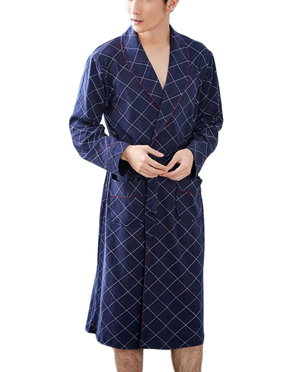 Men's Cotton Gown/Pajamas- Comfortable and Casual Bathrobe/Dressing Gown Autumn and Winter Home Clothing (Color : Blue, Size : M) DAFREW factory