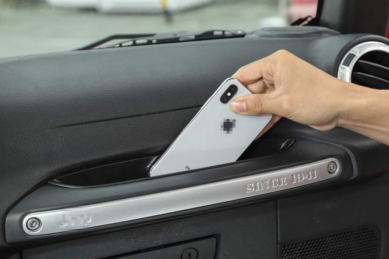 Highitem Auto Passenger Side Storage Box Container Organizer ABS Black Handy Pocket Interior Accessory Fit for Jeep Wrangler JK 2011-2017