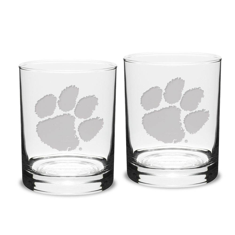 NCAA Clemson Tigers Adult Set of 2 - 14 oz Double Old Fashion Glasses Deep Etch Engraved, One Size, Clear