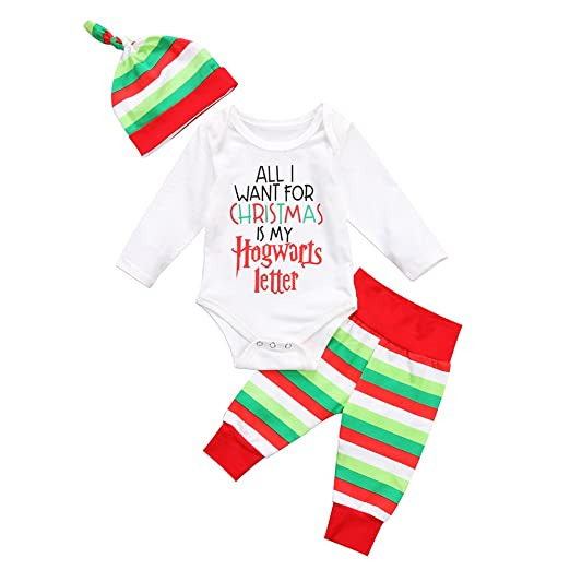 9ae34302219e Cute Newborn Infant Baby Girl Boy Long Sleeve Christmas Romper+Striped  Pants with Hat Outfit