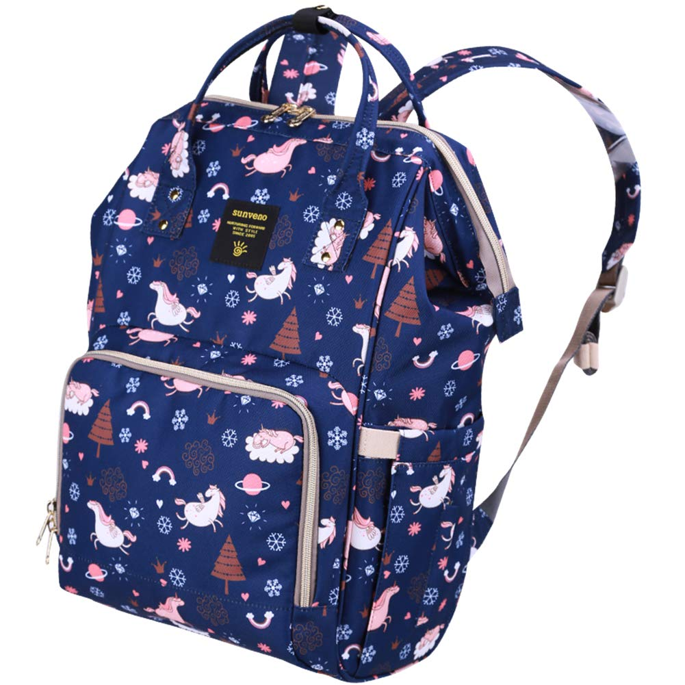 SUNVENO Baby Diaper Bag Backpack Nappy Changing Backpack Mommy Maternity Bag Waterproof Large Insulated Backpack, Basic Version(Blue)