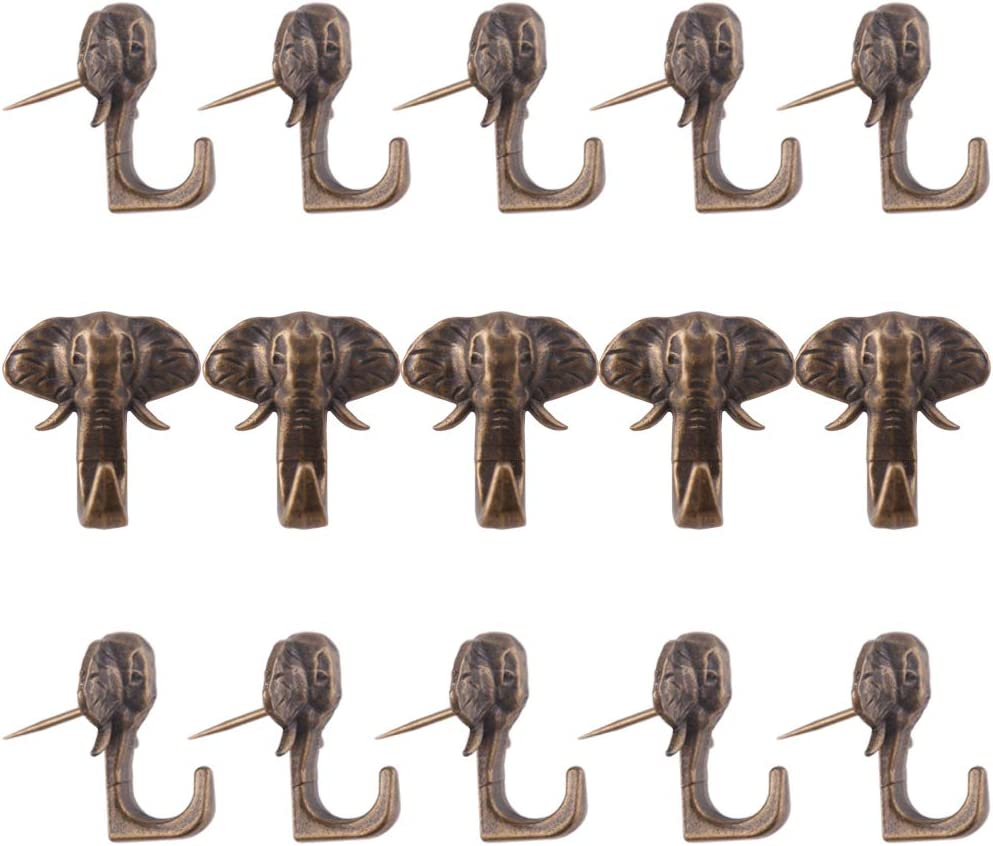BAMI Elephant Push Pin Picture Hanger Piece-15 (Antique Bronze)