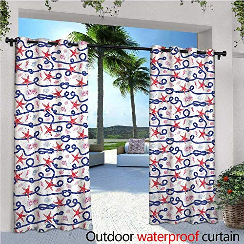 Starfish Decor Exterior/Outside Curtains Nautical Pattern Navy Marine Rope Red Starfish Shells Scallops Seahorses for Patio Light Block Heat Out Water Proof Drape W84 x L84 Multicolor