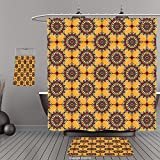 Uhoo Bathroom Suits & Shower Curtains Floor Mats And Bath TowelsArabian Decor Collection Traditional Old Style Arabesque Islamic Mosaic Pattern in Retro Vintage Colors Ancient Print MultiFor Bathroom