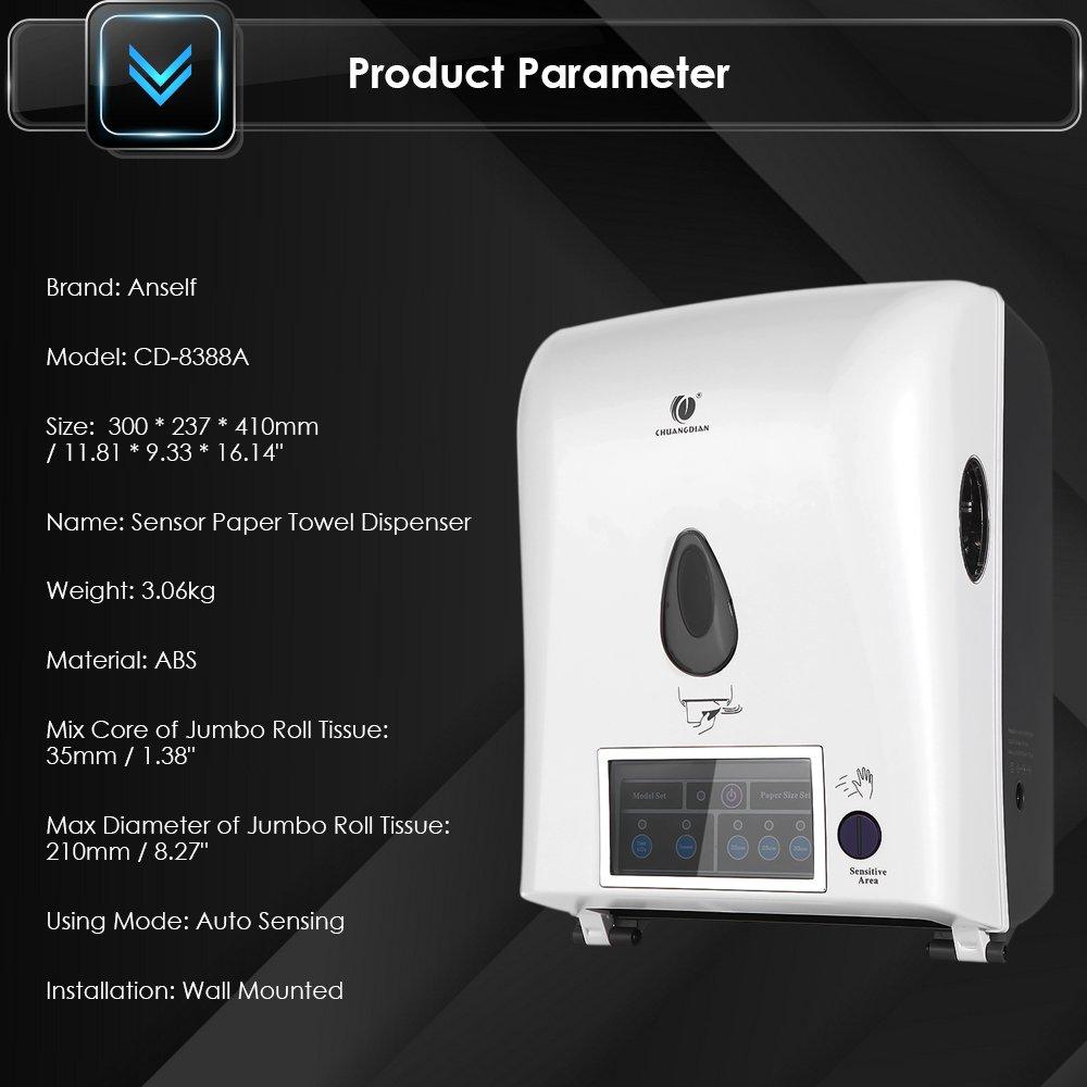 Anself - Dispensador de Rollo Toallas de Papel, Automático de Sensor, Montado a Pared para Hospital/Hogar/Hotel/Mercado: Amazon.es: Hogar