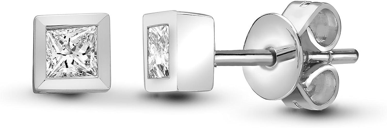 Jewelco London - Pendientes solitarios de oro blanco de 18 quilates con diamante de 0,2 quilates