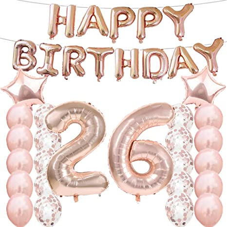 26th Birthday Decorations Party Supplies,26th Birthday Balloons Rose Gold,Number 26 Mylar Balloon,Latex Balloon Decoration,Great Sweet 26th Birthday ...