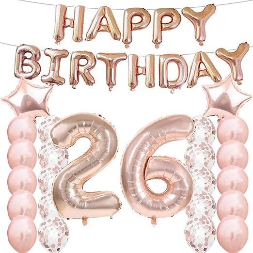 Amazon.com: Adornos de 26 cumpleaños para fiestas, globos de ...