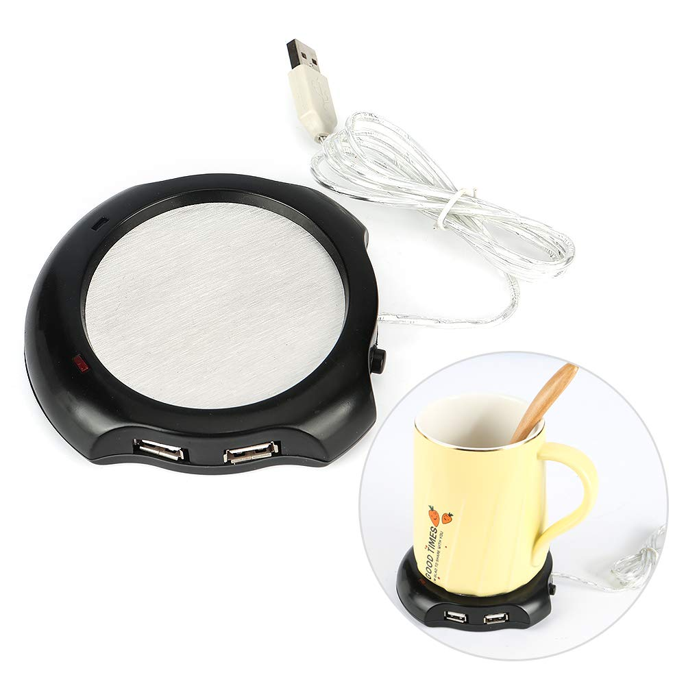 Merssyria USB Cup Mat Black Tea Warmer Pad Coffee Mug Warmer Heating Coaster USB Heating Coaster with Black Silicone Cup Cover for Tea Water Coffee