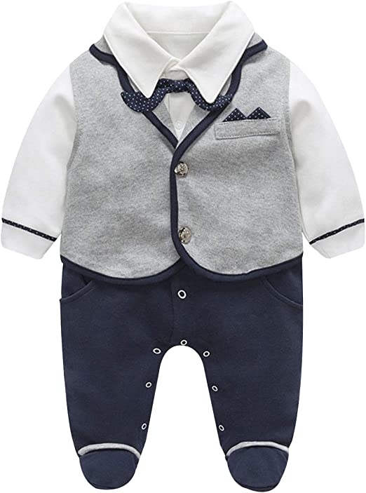 Baby Boys Romper Snaps Hooded Botton Overall Long Sleeve Black Jumpsuit Footie Pants Set