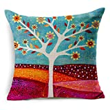 Spring Abstract Trees Cotton Linen Decorative Throw Pillow Case Cushion Cover, 17.7 x 17.7inches